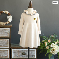 YL1717970 2017 New Fashion Baby Girls Dress Sweater Solid Peter Pan Collar Girl Dress Full Sleeve