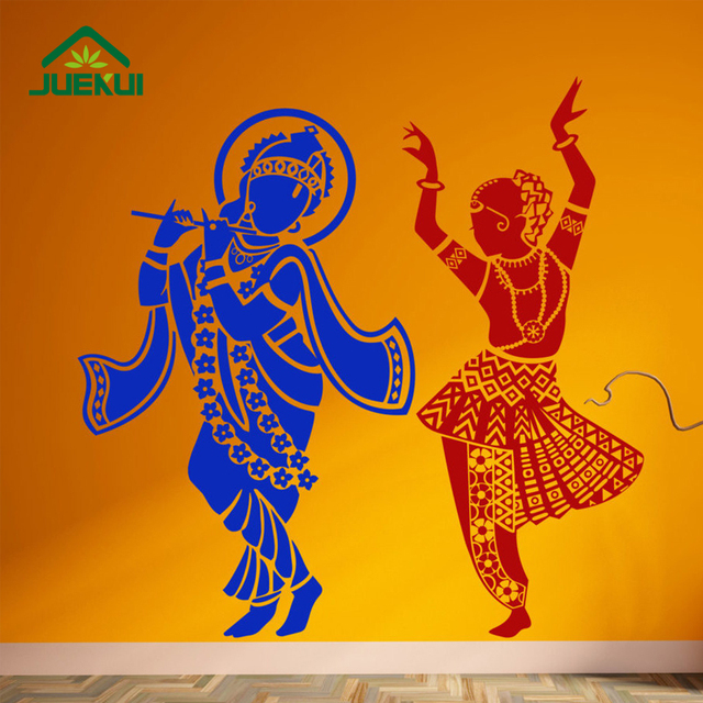 Radha Krishna Hindu God Decoration Wall Decals Bedroom Art Decor Vinyl  Removable Wall Stickers For Living