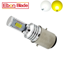 1PCS 1000 Lumens White Yellow BA20D H6 CSP 72W Canbus Led Bulb For Motorcycle Headlights Electric Cars Head Lamp Hi/Lo Beam