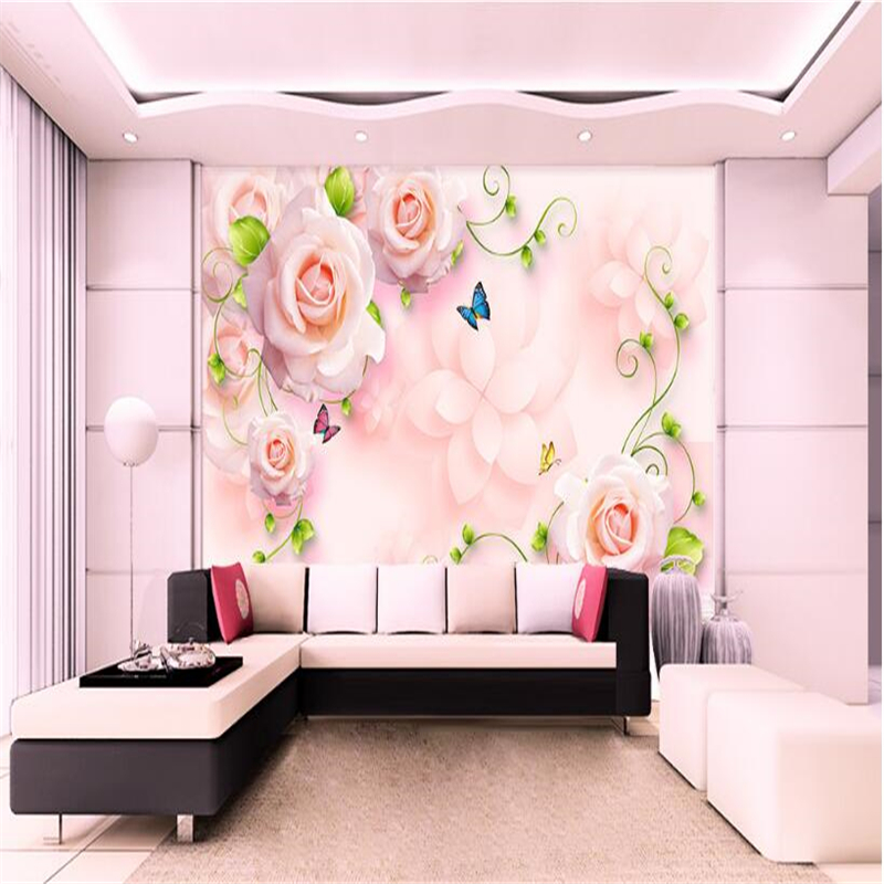 beibehang Custom new fashion wallpaper new picture pink rose dream ...