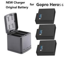 جديد ل Gopro بطل 7 100% بطارية الأصلي Gopro 5 6 بطاريات 3 way صندوق شحن البطارية الحال بالنسبة GoPro بطل 7 كاميرا Clownfish