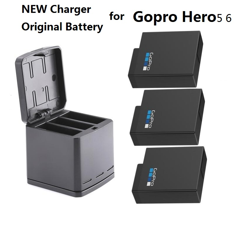 new for gopro hero 7 100 original battery gopro 5 6 batteries 3 way charger box battery case. Black Bedroom Furniture Sets. Home Design Ideas