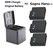 NEW For Gopro HERO 7 100% Original Battery Gopro 5 6 batteries 3 way charger BOX Battery case for GoPro HERO 7 Camera Clownfish