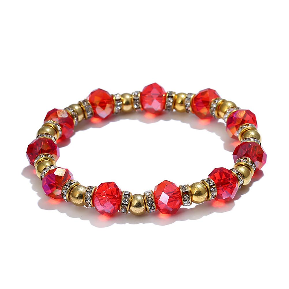 Vintage Colorful Rhinestone Beads Bracelet Women Jewelry Decor Wrist Band Gift