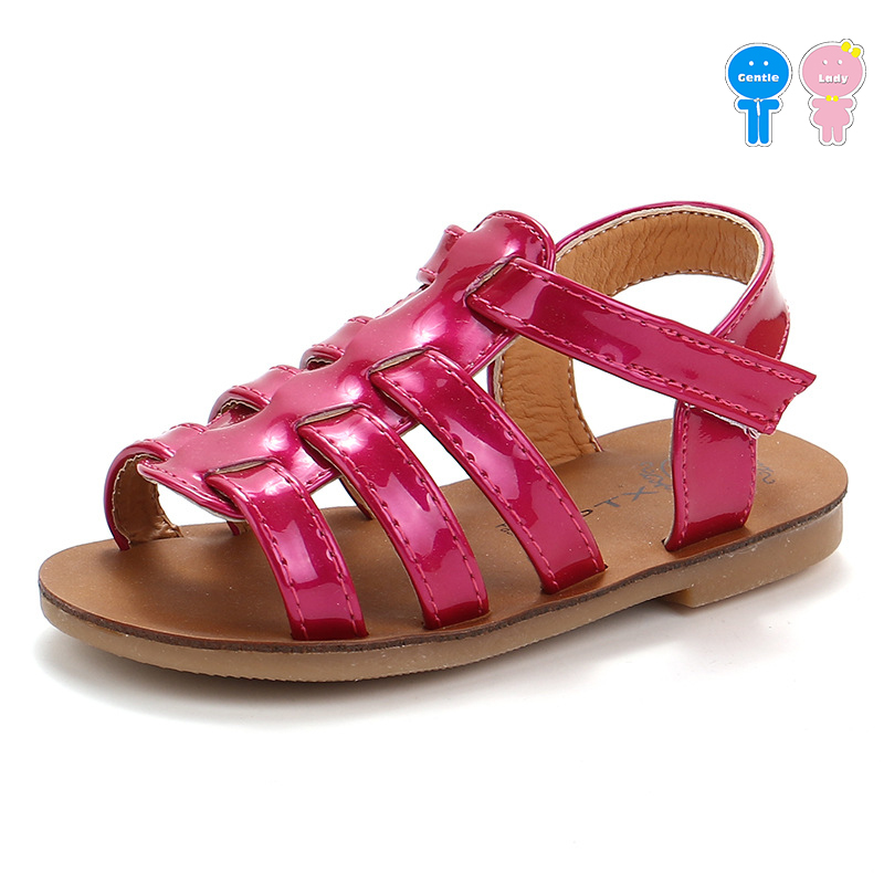 Summer metal color patent PU roman baby girls fashion sandals boys breathable beach shoes kid sandals children 12.5-17.5cm