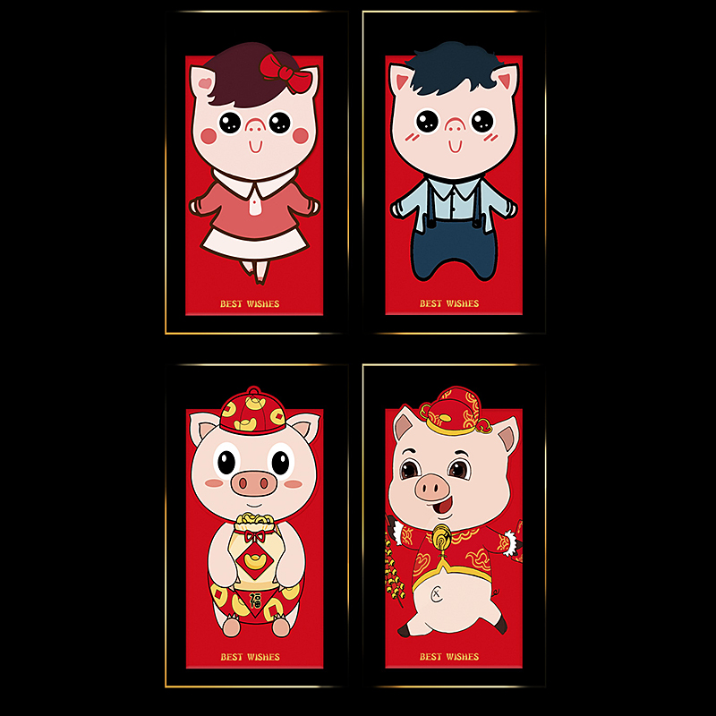 8c92f103f32f US $1.7 25% OFF|6pcs/Set Paper Cartoon Pig Red Packet 2019 Chinese New Year  Red Envelope Lucky Money Bag-in Cards & Invitations from Home & Garden on  ...