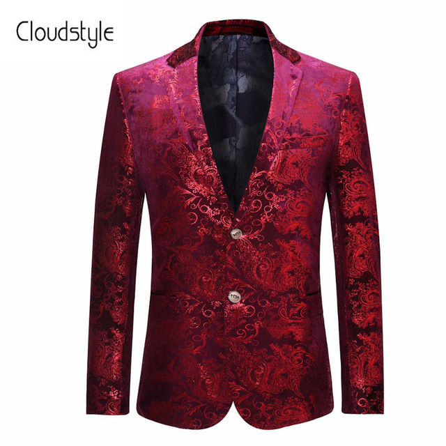 d549bc123b4 Cloudstyle Male Suit Blazer Fasion Red Floral Printing Single Button Blazer  Casual Slim Fit Jacket For Formal Party Plus Size 5X