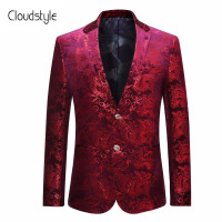 Cloudstyle Male Suit Blazer Fasion Red Floral Printing Single Button Blazer Casual Slim Fit Jacket For Formal Party Plus Size 5X