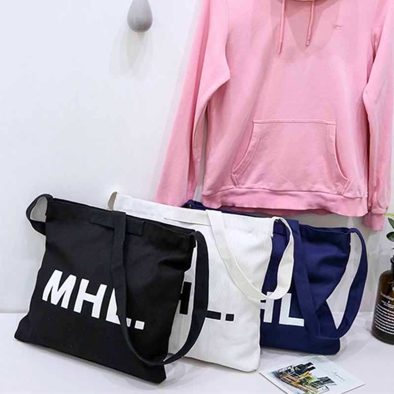 NEW Zipped Solid Cotton Canvas Messenger Bag Single Cross Body Strap Print English Letter 8510-6