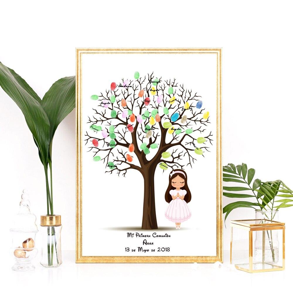 Us 735 30 Offanpassen Name Datum Für Erste Kommunion Geschenk Für Mädchen Taufe Geschenk Fingerprint Baum Mit Engel Taufe Baby Shower Decor In