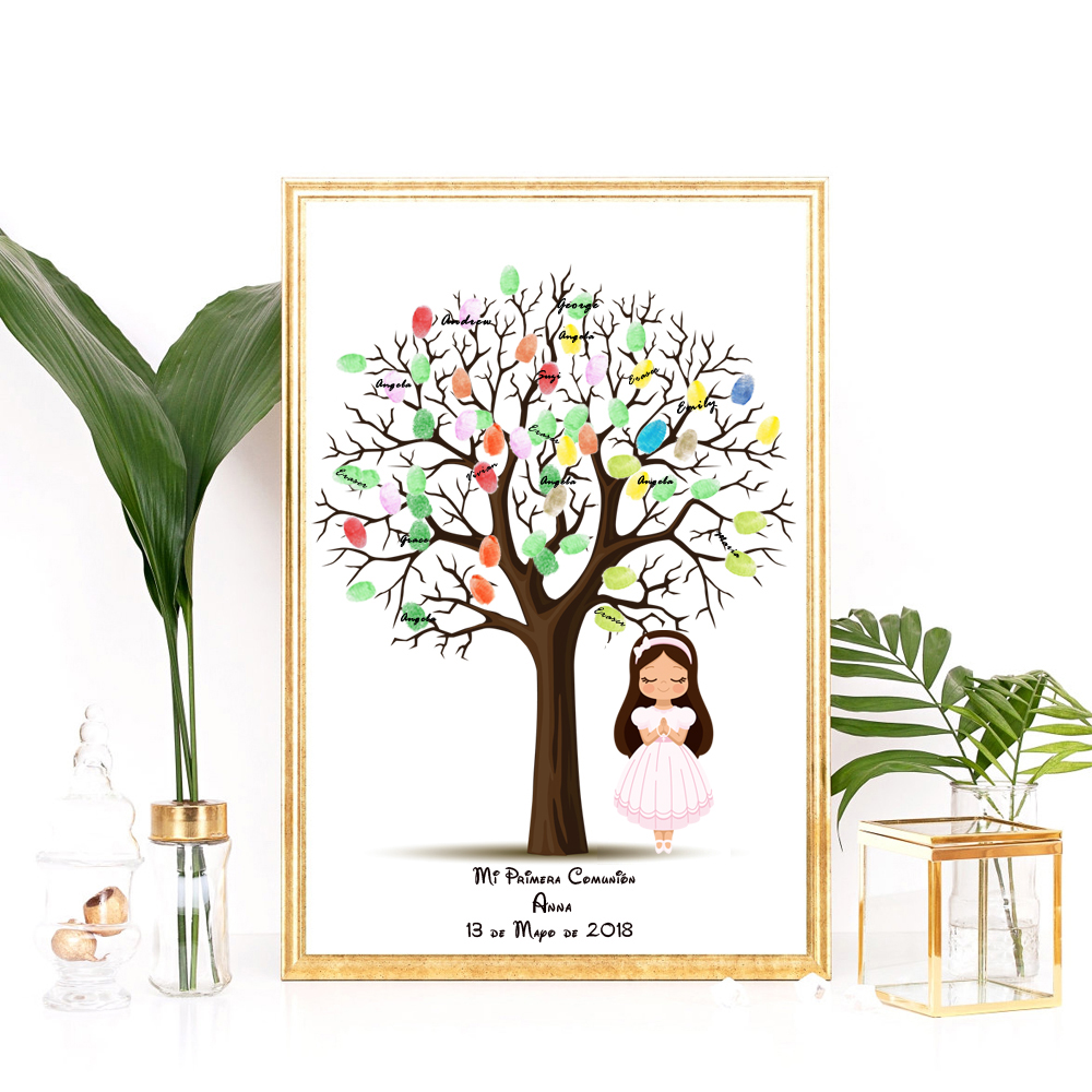 customize name date for first communion gift for girl baptism gift fingerprint tree with angel. Black Bedroom Furniture Sets. Home Design Ideas