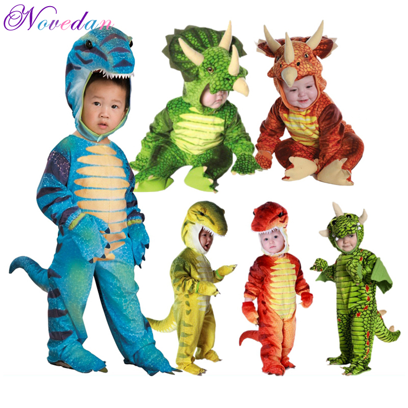 Baby Jurassic World Cosplay Dinosaur Costumes Masquerade For Halloween Party Stegosaurus/Tyrannosaurus/Triceratops Jumpsuit