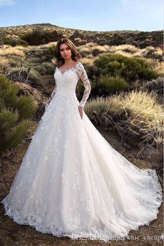 Wuzhiyi wedding dress long sleeves V neck vestido de noiva empire flower wedding Grown zipper back