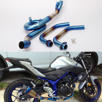 Motorcycle Exhaust Middle Pipe and Front Link Pipe Full System For Yamaha YZF R25 R3 2014 2017 2018 MT03 MT 03 2016 2017 18