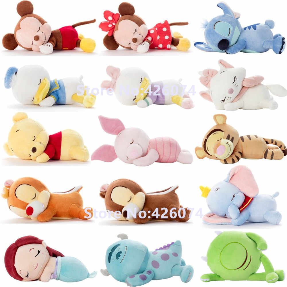 Sleep Mickey Minnie Donald Duck Daisy Stitch Marie Dumbo Chip and Dale Piglet Sulley Mermaid Plush Kids Stuffed Animals Toys