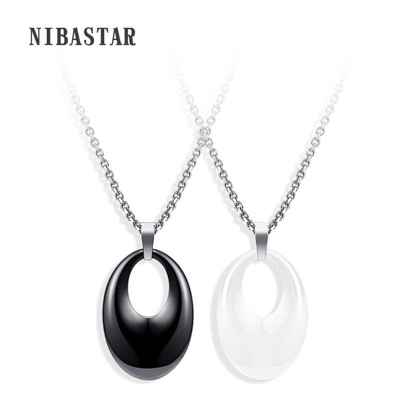 Simple Design Ceramic Pendant Necklace White Black Round Pendant Necklace Stainless Steel Chain For Women