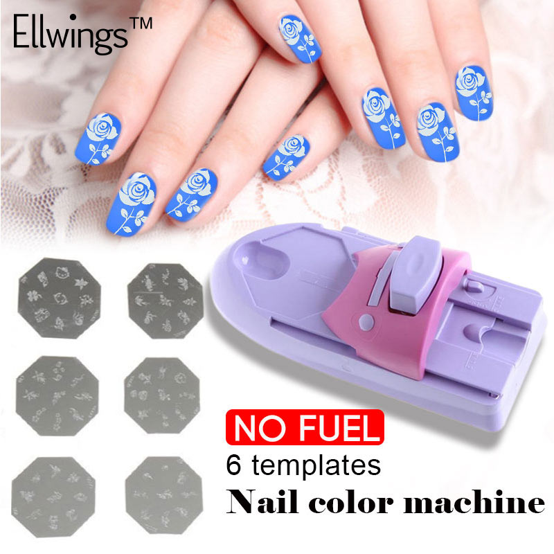 Nail Art Printer: Ellwings 6 Templates Nail Painting Machine Set DIY Pattern