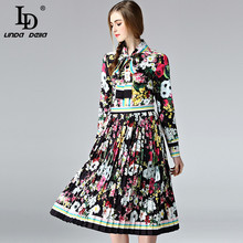 High Quality 2017 Runway Designer Suit Set Women's 2 Piece Bow collar Shirt + Vintage Flower Floral Printing Pleated Skirt Suit