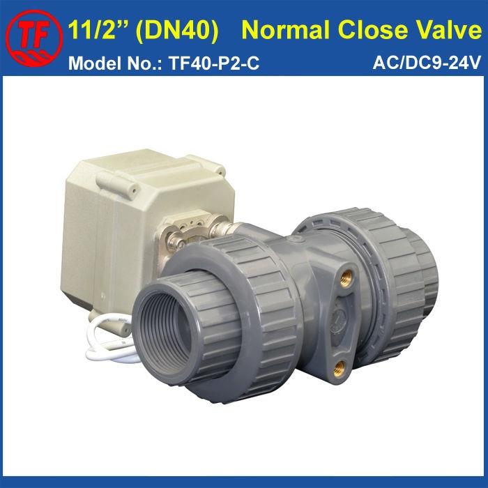 UPVC 2 Way DN40 Plastic Electric Valve TF40-P2-C AC/DC9-24V 2 Wires 11/2'' Normal Close Valve 10NM On/Off 15 Sec Metal Gear CE 2 way pvc dn25 motorized ball valve bsp npt 1 ac110 230v 4 7wires 10nm electric ball valve on off 15 sec metal gear ce