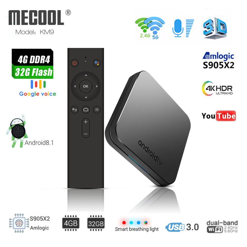 MECOOL KM9 ATV Android 8.1 boîtier de smart tv Amlogic S905X2 Quad core 4G DDR4 32G EMMC ROM Set Top Box 4 K 3D H.265 Wifi lecteur multimédia
