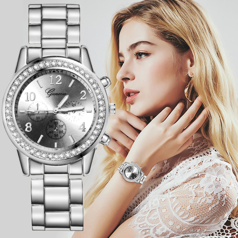 Casual Silver Women's Watches Fashion Rhinestone Women Quartz Wrist Watch Luxury Rose Gold Stainless Steel Wristwatch Women