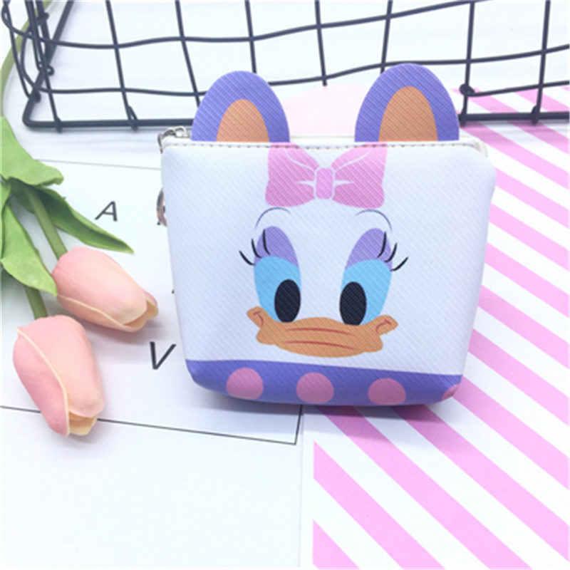 Hoạt Hình Disney chuột Mickey Stereo Tai Khóa Kéo Đồng Xu PU Ví Đựng Tiền Xu Thẻ Gói Vịt Donald bé gái túi cầm tay trẻ em Quà tặng