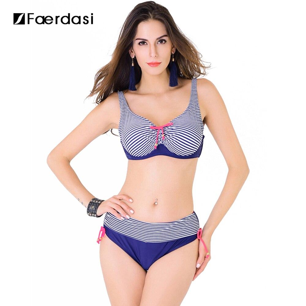 Faerdasi 2018 New Bikini Set Ajusable Straps Swimwear Removable padded Cup Swimsuit Mid Waist Bathingsuit FD81627