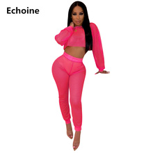 New Sexy Women Sheer Mesh Pants Set Crop Top and Hollow Out  See Through Two Piece Perspective Clubwear Party Outfit