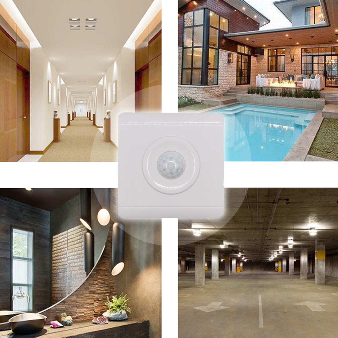Motion Sensor Switch Time Delay Adjustable Mode Detector Wall Module For LED Light or Fan Infrared Induction AC 220-240VMotion Sensor Switch Time Delay Adjustable Mode Detector Wall Module For LED Light or Fan Infrared Induction AC 220-240V