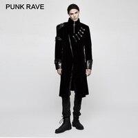 Панк RAVE панк рок черный Для мужчин по колено Зима длинное пальто Готический вельвет из искусственной кожи пальто куртки двубортный Тренч