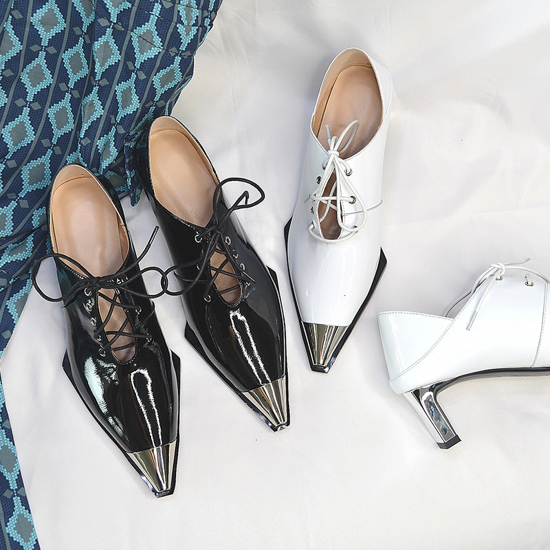 2019 Women's Pumps Metal Toe Casual Shoes Punk Lace Up Genuine Leather Ladies Dress Shoes Strange Heel Party Office Shoes Woman