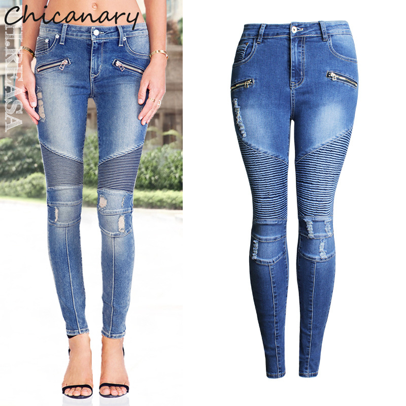 Chicanary Women Punk Motorcyle Patchwork Stretch Slim Fit Ripped Denim Pants Zippers Skinny Jeans Woman High