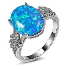 Vente chaude Exquis Bleu Opale de Feu 925 Argent Sterling De Haute Quantité Bague De fiançailles De Mariage Taille 5 6 7 8 9 10 11 A108