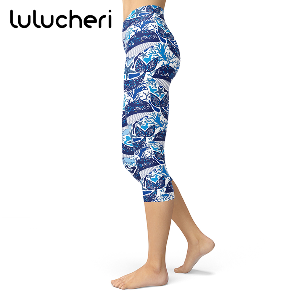 Marine Life Sea Fish Wave Pattern Printing Leggings Women Brushed Buttery Soft Plus Size Capris Breathable Slim Fitness Pants