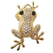 Cute Boys Animal Brooches for girls Christmas Gift Frog Shate Carve Full Shining Rhinestone Brooch pins for women