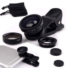 Universal Fisheye Lens 3 in 1 Mobile Phone Clip Lenses Fish Eye Wide Angle Macro Camera Lens for Smartphone iPhone 6  Microscope