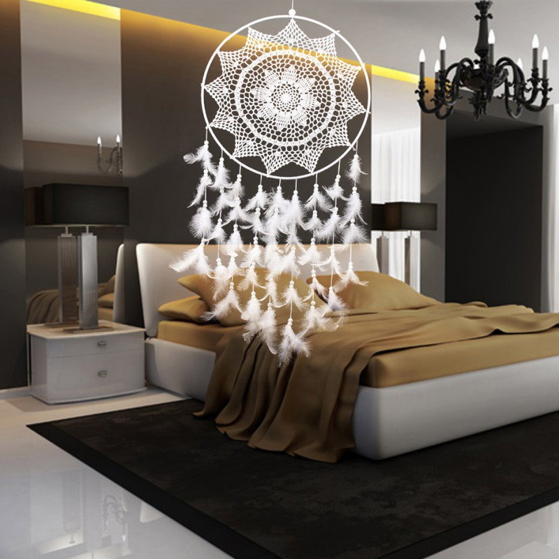 Décor à la maison avec des plumes tenture murale ornement grande taille blanc à la main capteur de rêves
