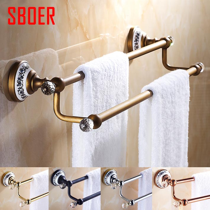 Wall mounted double Towel Bar,Towel Holder, Towel rack Solid Brass & Crystal ceramic made antique black rose gold chrome finish free shipping wholesale and retail brass towel ring wall mounted towel rack rail gold chrome rose gold