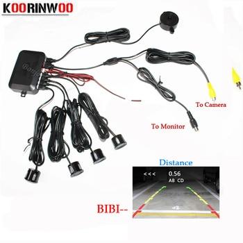 Koorinwoo Dual Core CPU Video System Car Parking Sensor Reverse Backup Radar 4 Alarm Beep Show distance on Display Sensor
