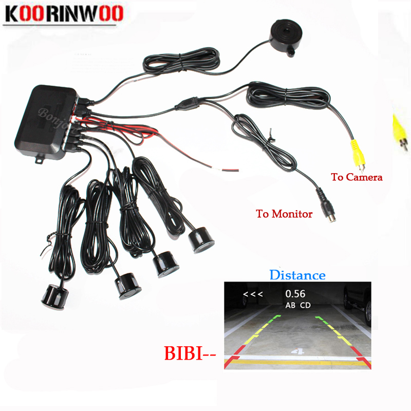Koorinwoo Dual Core CPU Video System Car Parking Sensor Reverse Backup Radar 4 Alarm Beep Vis afstand på Display Sensor