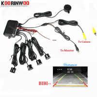 Koorinwoo double cœur CPU système vidéo capteur de stationnement de voiture Radar de sauvegarde inverse 4 alarme bip montrer la distance sur le capteur d'affichage