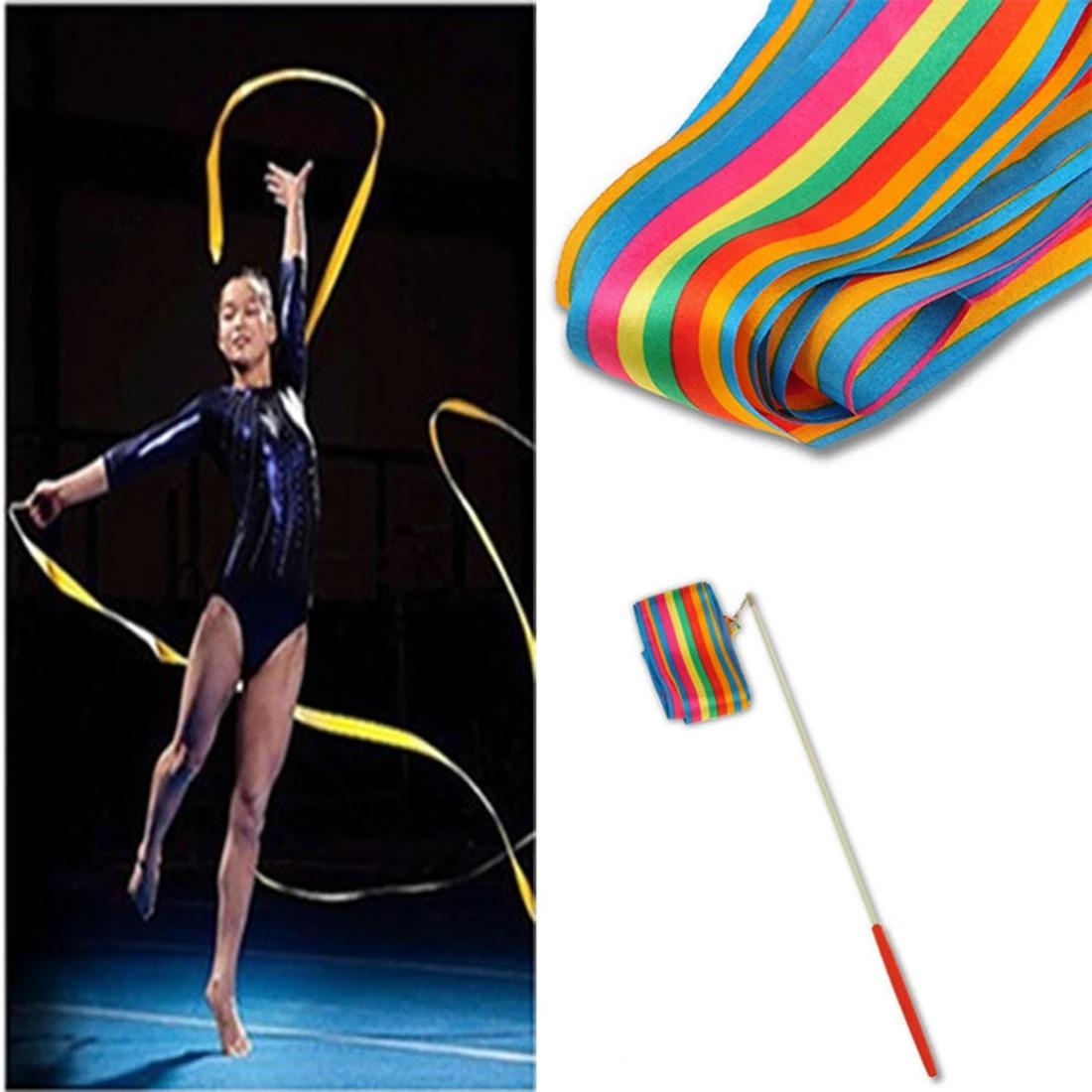 4M Dance Ribbon Gym Rhythmic Art Gymnastic Ballet Streamer SWIRL ROD 2019 K9W4