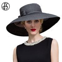 FS Black Elegant Girls Lady Womens Summer Sun Hat Large Wide Brim Wedding Fedora With Bowknot Derby Straw Panama Hat Chapeu