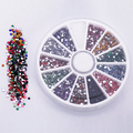 2015 Newn  2.0mm 12 Colors Glitter Tips Rhinestones Gems Flat Gemstones Nail Art Stickers Beauty DIY Decorations Wheel 6F8F
