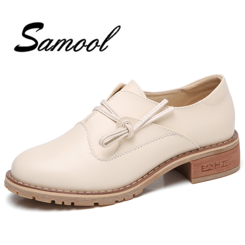 2018 New Spring Autumn Women Shoes British Style Retro Casual Lace up Square Heel height increase Oxfords female white Shoes lx5 xiaying smile new spring autumn women shoes british style retro casual pantshoes lace shoes square heel pointed toe rubber pumps