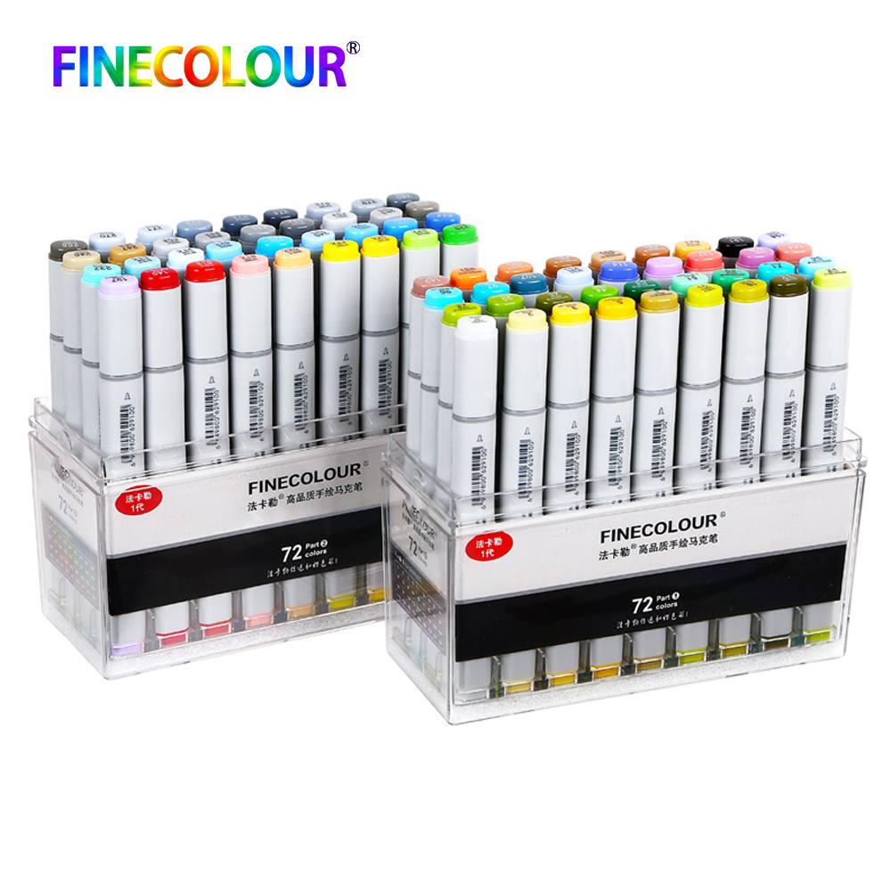 24/36/48/60/72 Finecolour Permanent Markers Pen Standard Set Sketch Dual Head Drawing Art Brush Pens Alcohol Based Paint Pen finecolour ef101 alcohol based art sketch twin marker brush non toxic markers for school supplies 24 36 48 72 color set in bag