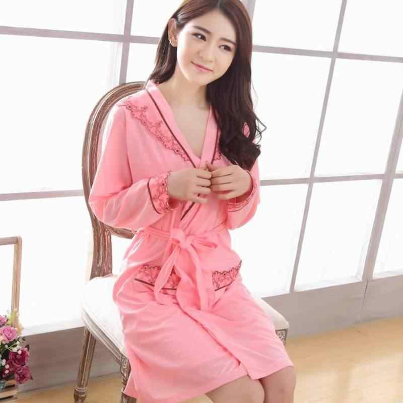 ชุด = 2 PCS/3 pcs ผ้าฝ้ายเซ็กซี่ Robes ผู้หญิงฤดูใบไม้ผลิฤดูใบไม้ร่วงแขนยาว Night ชุดนอนเสื้อคลุมอาบน้ำ 2 ชิ้นหวาน Nightgown