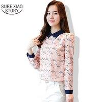 2017 Autumn Outfit New Korean Version Temperament Printing Lapel Chiffon Shirt Women Fashion Casual Slim Color