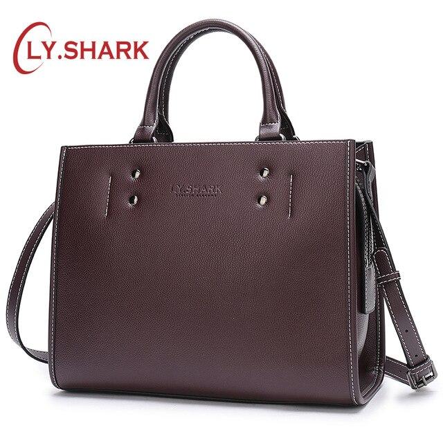 LY SHARK Women Messenger Bag Ladies Genuine Leather Handbag Crossbody Bags For Women Green Shoulder Bag