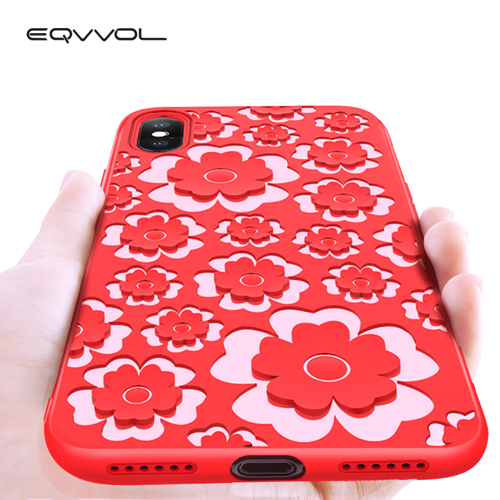 Eqvvol 360 Full Body Protection Case For iPhone X 8 7 Plus Carving Soft TPU Flower Pattern For iPhone 6 6s Plus Phone Case Cover